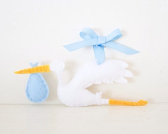 STORK Ornament - Baby Boy Stork - Blue Baby Keepsake - Baby's First Christmas Ornament - Blue Baby Shower Decor - Felt Stork Decoration