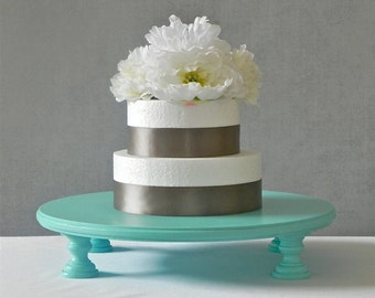 """20"""" Cake Stand Round Cupcake Stand Teal Robins Egg Blue Shower Decor Wedding By E. Isabella Designs Featured In Martha Stewart Weddings"""