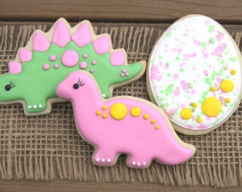 Dinosaur Cookies / Dinosaur Birthday / Dinosaur Party for Girls / Girl Dinosaurs / Pink Dinosaur / Dinosaur Favor / Dinosaur Party
