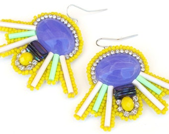 Oversize Statement Earrings; Blue and Yellow Statement Earrings; Couture Earrings