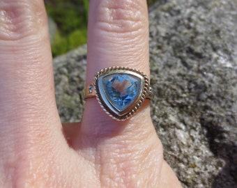 Trillion Cut Blue Topaz and Diamond 10k Gold Ring Size 7