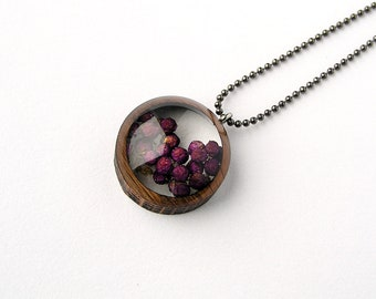 Chinese Beauty Berries Resin and Wood Necklace Pendant: Nature Jewelry with Real Plants