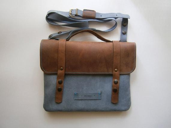 Blue Summer IPad Briefcase, 13' laptop bag,  School Bag,Leather Briefcase, Handmade IPad Bag, IPad sleeve, IPad Tablet Bag,