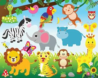 Jungle Animals Clipart and Digital paper ,Jungle clipart, Animals Clipart,safari,zebra,lion,elephant,monkey,giraffe clipart Zoo Clipart
