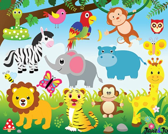 jungle animals clipart and digital paper jungle clipart animals rh etsystudio com jungle clipart background jungle clip art free downloads