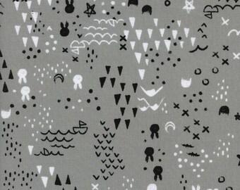 Maps - Grey - SLEEP TIGHT - Sarah Watts - Cotton + Steel Fabrics 2048-01