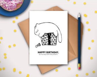 Funny Cat Birthday Card Printable Instant Download Cat