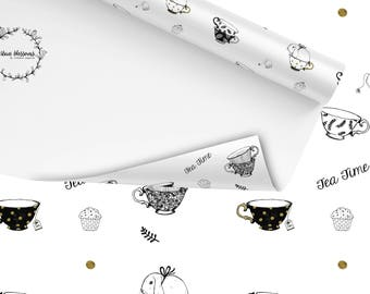 Wrapping Paper Tea Time  - gift wrapping, Illustration, Tea, bunnies, cups, Muffin, black and white, golden dots, Design