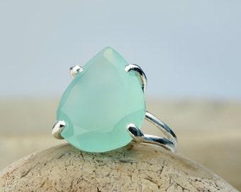 ETSY BIRTHDAY SALE - aqua gemstone ring,teardrop ring,silver stone ring,pear shape ring,semiprecious rings,cocktail ring