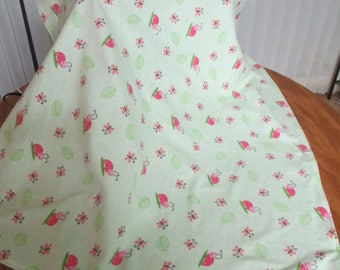 Receiving blanket with pink lady bugs. Measures 32.5X34