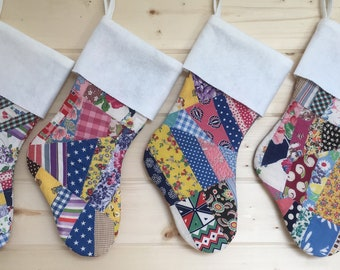 Vintage Feedsack Quilt Christmas Stocking Country Christmas Shabby READY TO SHIP Can Face Either Direction