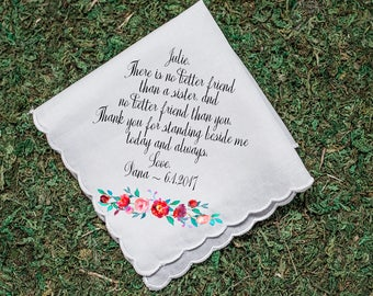Wedding Handkerchief, Sister Handkerchief, Maid of Honor handkerchief, Sister thank you gift, custom handkerchief, Printed Hankie -27