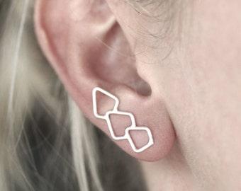 Geometrische Erklärung Ohr Kletterer - Sterling Silber - einen Ohrring