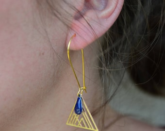 geometric triangles and drop earrings Navy Blue