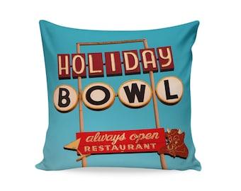 Hayward Holiday Bowl Neon Sign Pillow Cover | Retro Home Decor | Mid Century Pillow | Decorative Pillow Cover | Retro Pillow | Bowling Alley