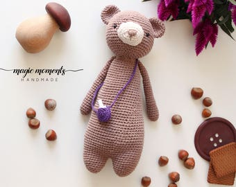 Softie Amigurumi Bear, Soft Bear, Amigurumi Teddy Bear, Crochet Bear, stuffed animal bear, baby photo prop, amigurumi bear, handmade bear
