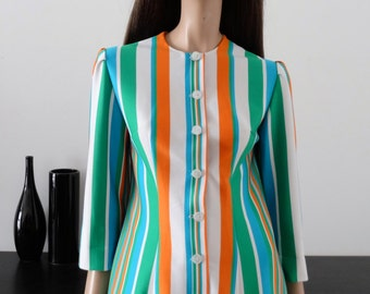 Vintage 60/70's white striped jacket orange/blue/green size 38 / uk 10 / us 6