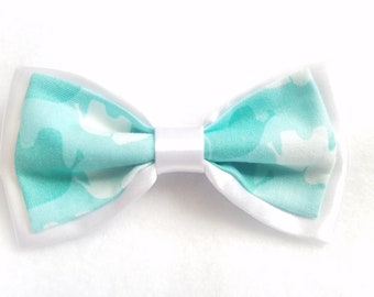 White Satin + Elephant Mint Green Double Bow tie for kids boy toddler or baby Sizes NB - 7 Yrs