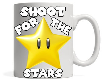 Mario Bro Coffee Mug, Video game gift, Shoot for the stars, Gamer gifts