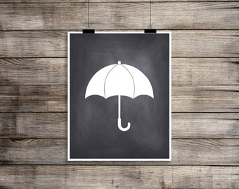 Umbrella Art, Winter Wall Decor, Instant Download, Modern Art Printable, Rainy Day Art, Chalkboard Art, White and Black Art