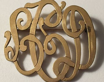 Gold Filled Monogram Brooch Initials LDC in Lovely Script Intertwined Letters