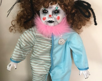 creepy clown doll, horror, Halloween prop,