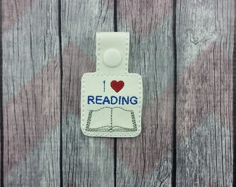 I love books Snap Tabs for Sports Bags and Luggage, Key Chains, Zipper Pulls, key fob, key chain