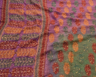 KK Vintage Saree Silk Blend Hand Embroidered Fabric Premium Ethnic Sari 5 Yard