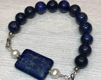 Lapis Pearl Bracelet, blue green bracelet, stretch bead bracelet, lapis stacking bracelet, blue pearl bracelet, lapis bracelet