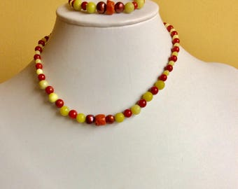 Girls coral, serpentine, red freshwater pearl necklace and bracelet set