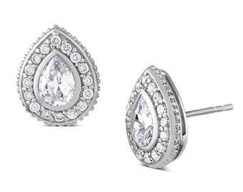 Katie Price Style Diamond Earrings, Pear Shaped with CZ Diamonds. Ref: AEE017