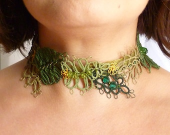 Shuttle Tatting Lace Leaf Collar -Leaf Garland -J Kohr Couture original design wearable fiber art leaf necklace choker