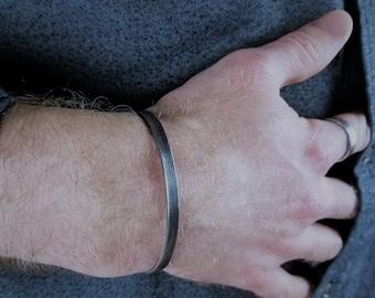 Men's Cuff Bracelet, Sterling Silver Cuff, Oxidized Silver Cuff Bracelet, Men's Oxidized Cuff, GREYSCALE CUFF
