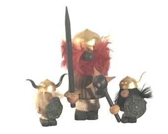 Folk Art Miniature Teak Vikings Set of Three Mid Century