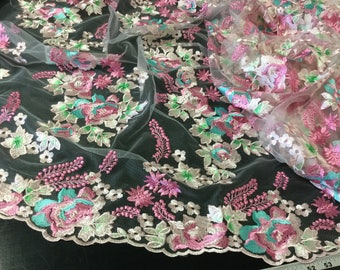 """3/4 Yard of 50"""" Wide Delicate Pink Aqua Mint Green Turquoise Embroidered Fabric Floral Tulle Box H ST"""