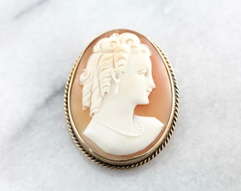 Beautiful Carving, Cameo Profile Pin or Pendant in Fine Shell MPANQ2-D