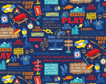 SALE Cub Scouts Main Navy Blue - Riley Blake Designs - Boy Scouts Hiking - Quilting Cotton Fabric - choose your cut