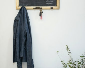 Repurposed Vintage Picture Frame Chalkboard Memo Board Key/Purse/Coat Hook