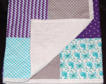 Modern Baby Quilt – Purple – Teal – Grey - White with chevron, dots, paisley and stripes