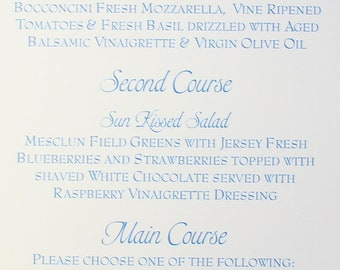 BEACH WEDDING MENU - Reception Menu - Shells and Starfish Motif