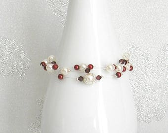 Elisa Burgundy and Ivory Pearl wedding bracelet