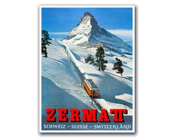 Retro Travel Poster Art Zermatt Switzerland Sports Home Decor Vintage Print (H250)