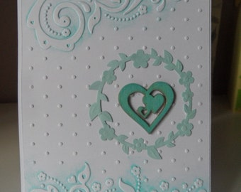 Wedding congratulations card, blue and white card with heart