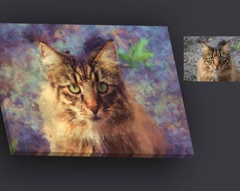 Custom Pet Cat Portrait Painting from Photo, Poster, Canvas or Digital File