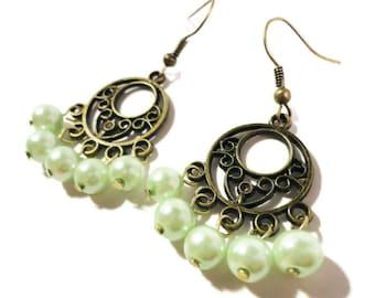 Pearl Chandelier Earrings, Pastel Mint Green Glass Pearl Bead Earrings, Faux Pearl Beaded Earrings, Bronze Hoop Earrings, Beadwork Jewelry