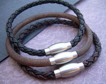 Mens Leather Bracelet with Stainless Steel Magnetic Clasp, Mens Bracelet, Mens Jewelry, Mens Gift, Fathers Day