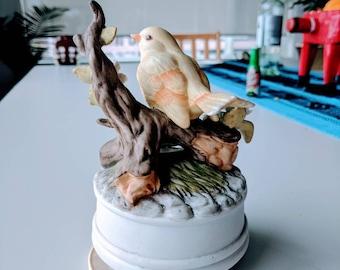1980's ceramic yellow bird music box