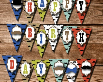 Printable Mustache Party Decorations - Instant Download