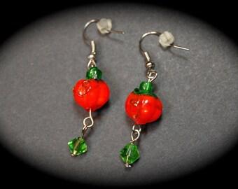 Fall Pumpkin Dangle Earrings, Pumpkin Earrings, Fall Earrings, Halloween Earrings, Lampwork Earrings, Lampwork Glass, Handmade Earrings