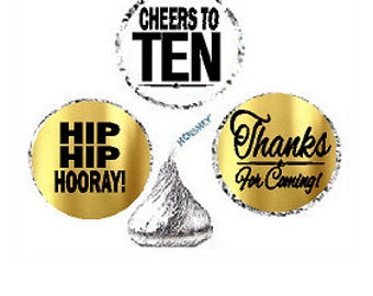 Cheers to Ten 10th Birthday Anniversary Hooray Thanks For Coming Stickers / Labels for  Hershey's Kisses Party Favors Decorations - 216pk